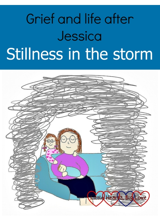 "A drawing of me sitting on the sofa holding Thomas with angel Jessica behind me - ""Grief and life after Jessica: Stillness in the storm"""