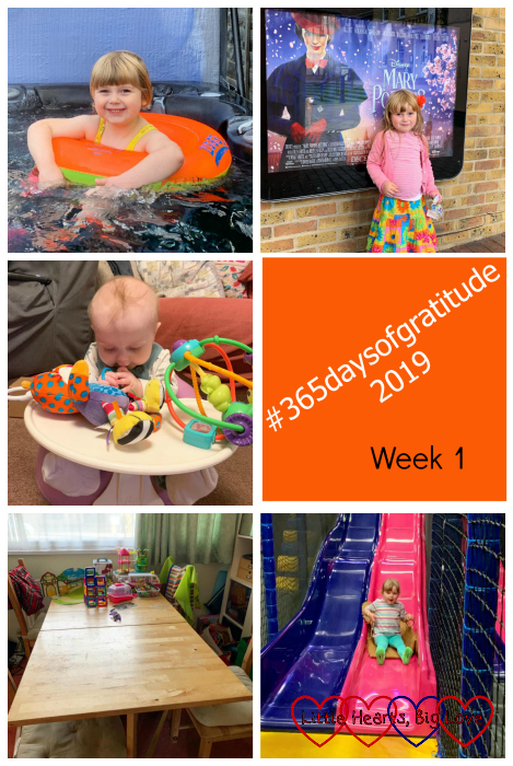 "Sophie in the hot tube; Sophie standing next to a poster for ""Mary Poppins Returns""; Thomas sitting in the Bumbo playing with toys; our dining room table; Sophie coming down a slide - ""#365daysofgratitude 2019 - Week 1"""