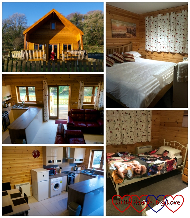 (from top, clockwise) Polzeath Lodge exterior; the master bedroom; the twin bedroom with Jessica's photo blanket on one of the beds; the kitchen and dining area; the lounge and kitchen area