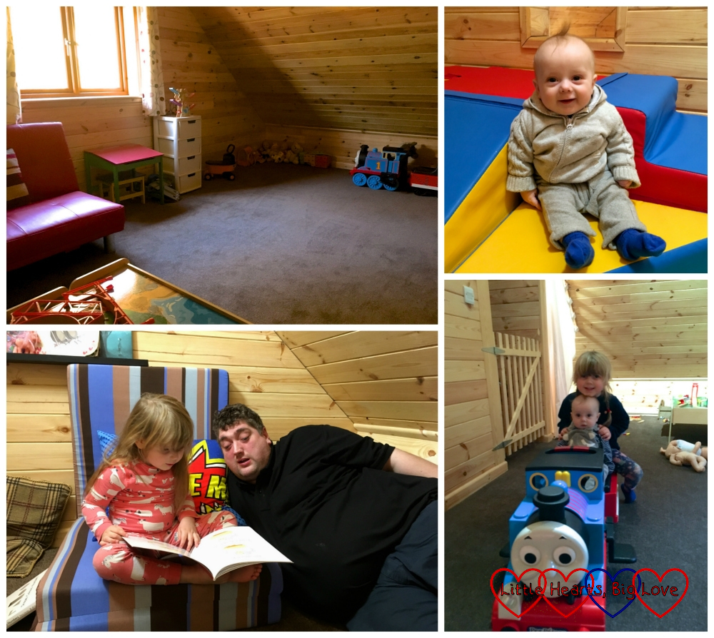 The playroom; Thomas in the soft play area; Sophie and Daddy in the reading nook; Thomas and Sophie on the Thomas the Tank Engine train