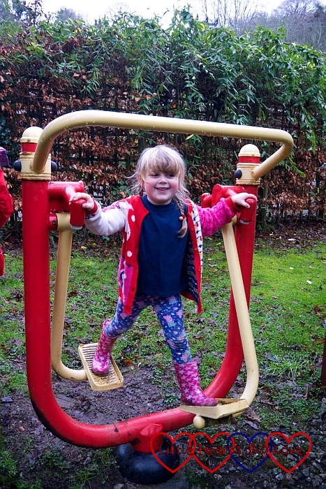 Sophie on the outdoor gym equipment