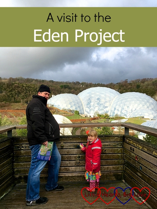"Hubby and Sophie looking at the view to the biomes at the Eden Project - ""A visit to the Eden Project"""