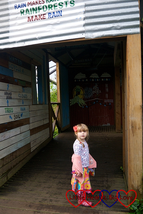 Sophie in a hut with wording on the walls about how the rainforest affects climate