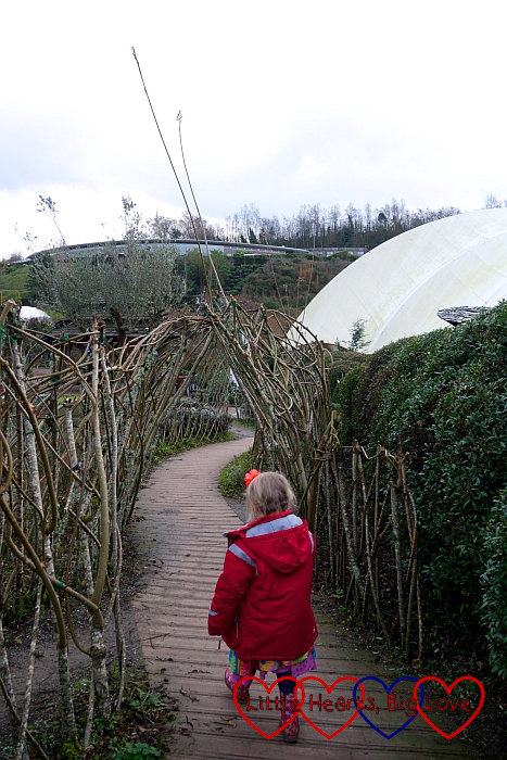 Sophie walking through one of the gardens outside the biomes