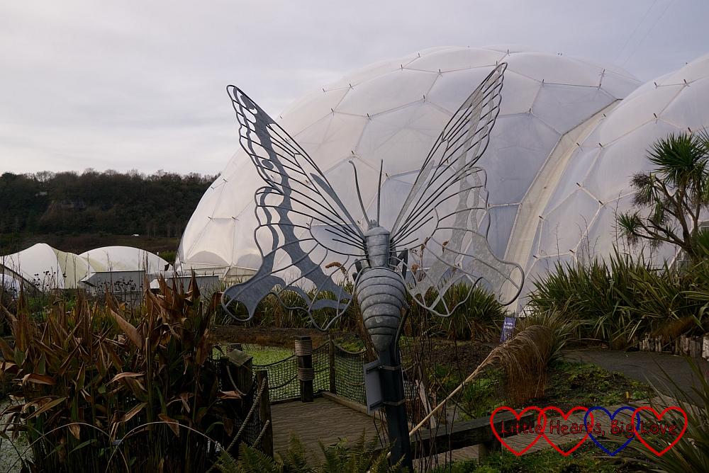 A butterfly sculpture