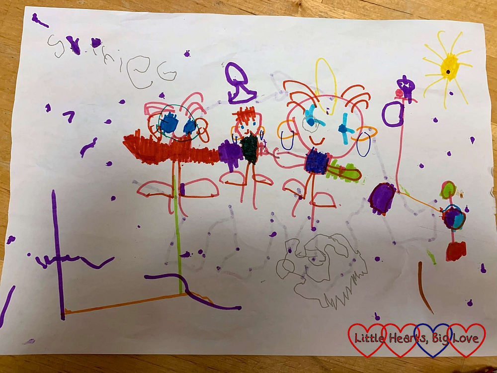 Sophie's drawing of herself and Jessica with Thomas in the middle