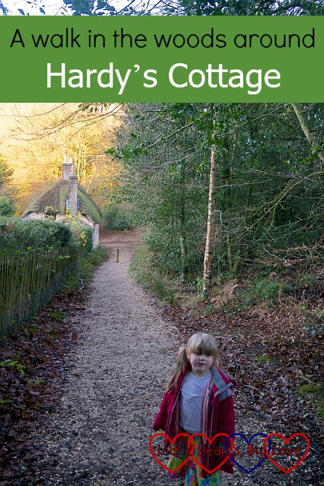 "Sophie standing in the lane with Hardy's Cottage in the background - ""A walk in the woods around Hardy's Cottage"""