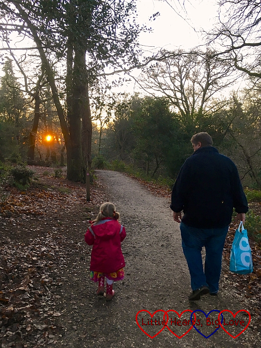 Sophie and Daddy walking through the woods towards the setting sun
