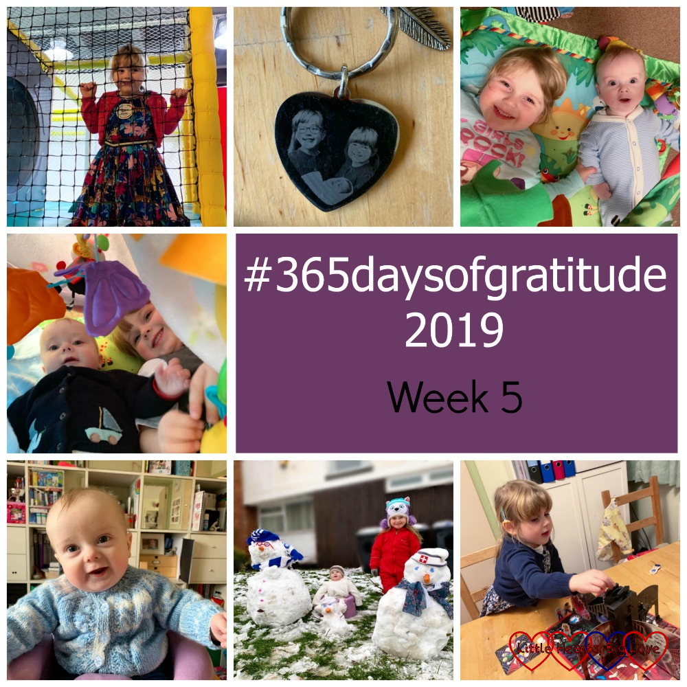 """Sophie at soft play; a keyring pendant with a photo of Jessica, Sophie and Thomas; Thomas and Sophie on Thomas's playmat; Sophie and Thomas inside a den; Thomas sitting in the Bumbo; Sophie and Thomas with their family of three snowmen in the garden; Sophie playing Ghost Castle - """"#365daysofgratitude 2019 - Week 5"""""""