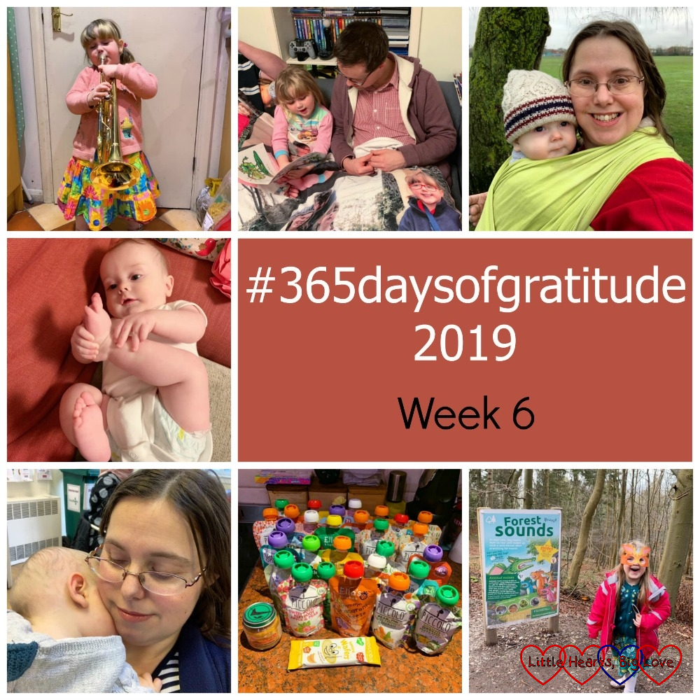 "Sophie playing Daddy's trumpet; Sophie with our friend; me with Thomas in the woven wrap; Thomas playing with his feet; Thomas snuggled on my shoulder; a selection of baby food pouches; Sophie wearing a Zog mask on the Zog trail - ""#365daysofgratitude 2019 - Week 6"""