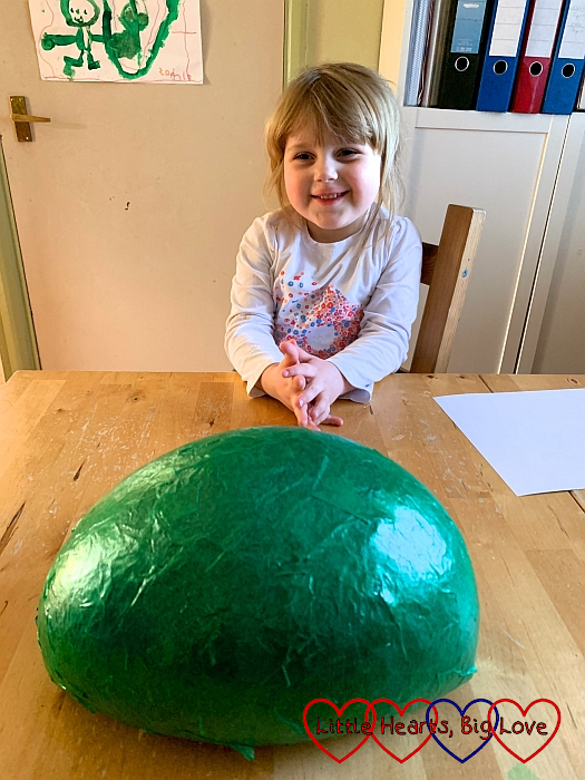 The papier-mache mould after the balloon has been popped