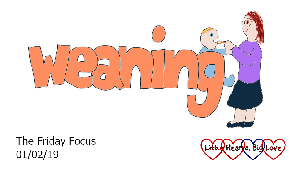 "The word ""weaning"" with the 'g' forming a high chair for a cartoon Thomas to sit in and a cartoon Mummy spoon-feeding him - ""The Friday Focus 01/02/19"""