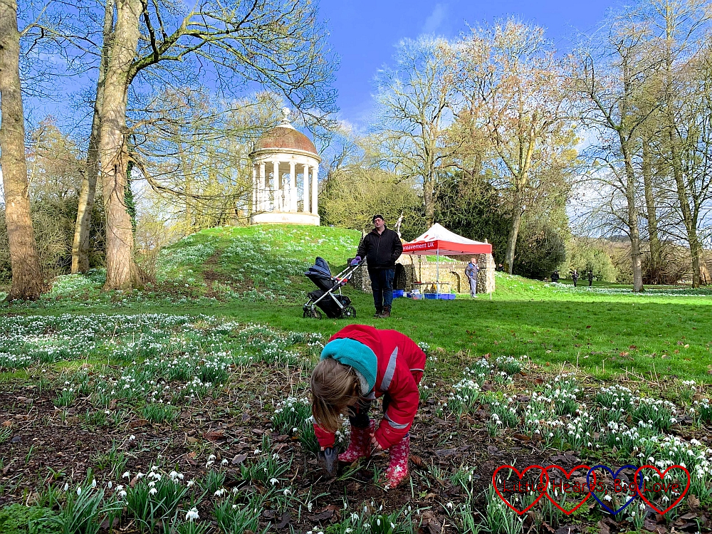 Sophie planting a snowdrop in memory of Jessica at West Wycombe Park, with hubby and Thomas next to the Child Bereavement UK gazebo in the background