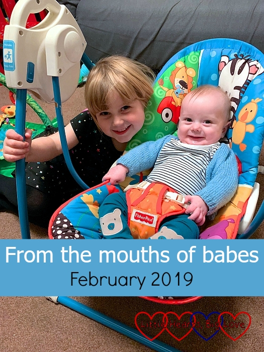 "Sophie crouching down next to a smiley Thomas in the swing - ""From the mouths of babes - February 2019"""