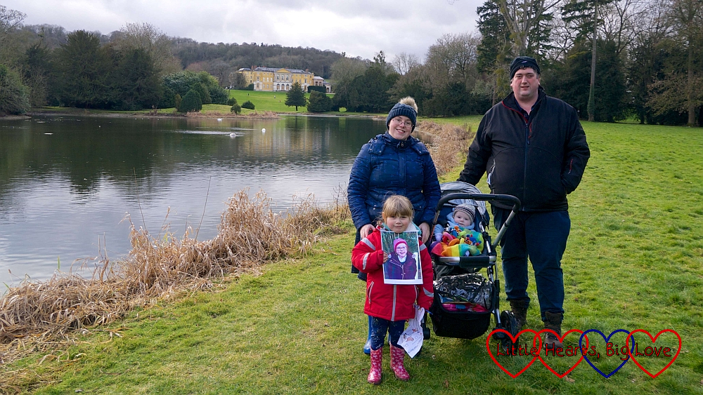 Me, hubby, Sophie (holding a picture of Jessica) and Thomas (in the buggy) at West Wycombe Park