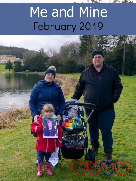 "Me, hubby, Sophie (holding a picture of Jessica) and Thomas (in the buggy) at West Wycombe Park - ""Me and Mine - February 2019"""