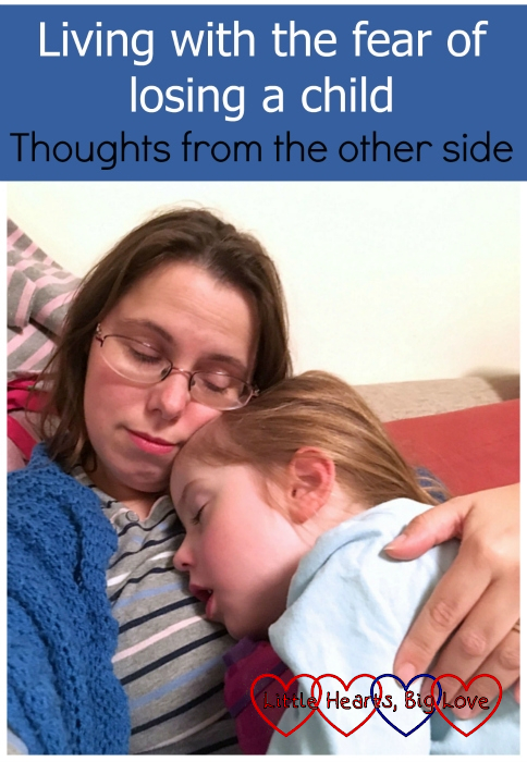 "Me cuddling a sleeping Jessica - ""Living with the fear of losing a child: thoughts from the other side"""
