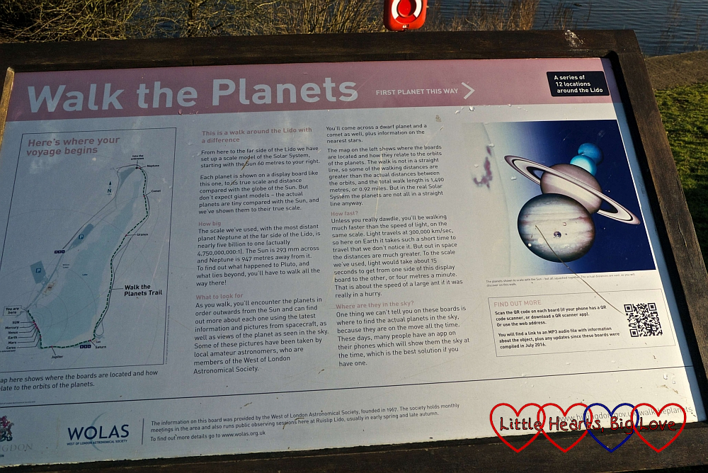 Information board about the Walk the Planets trail