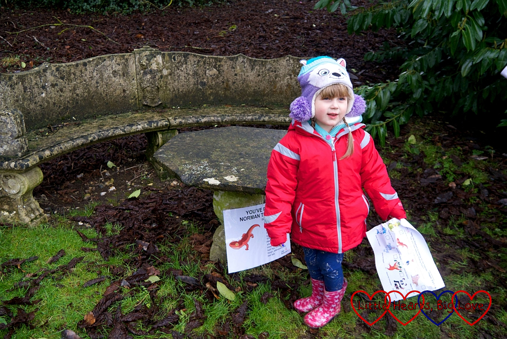 Sophie finding Norman the Newt at West Wycombe Park