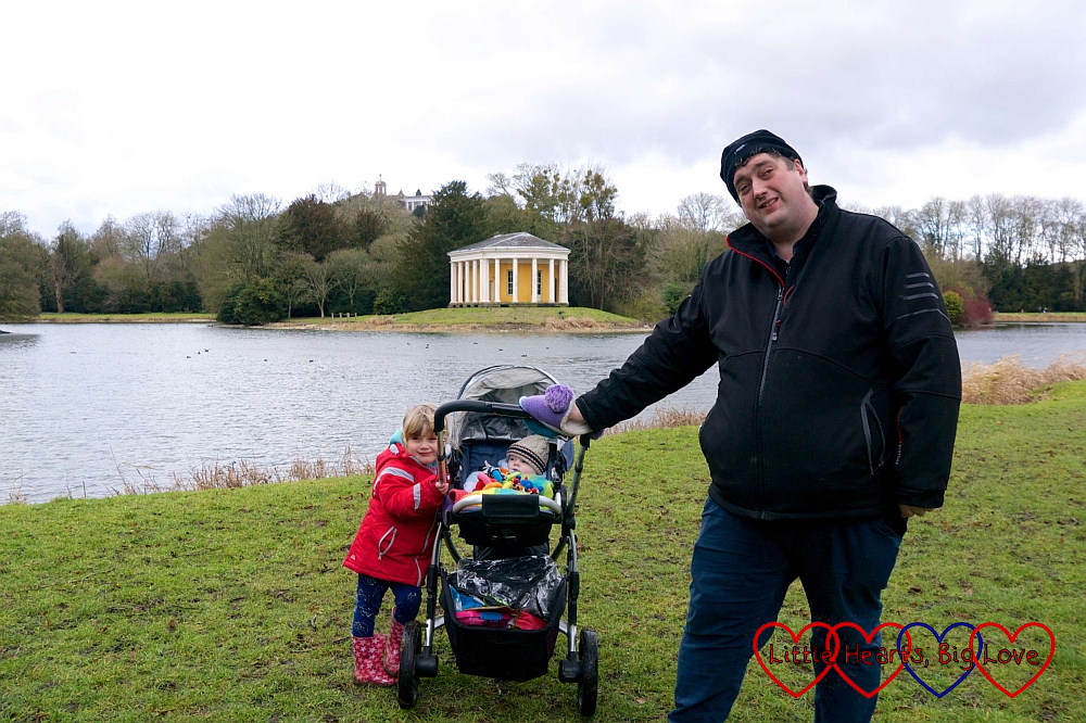 Hubby, Sophie and Thomas (in the buggy) at West Wycombe Park