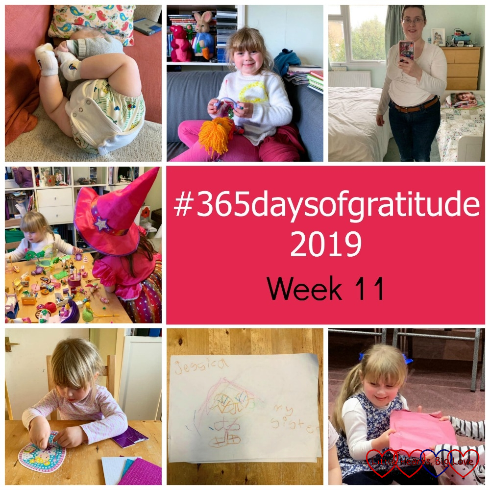 "Thomas holding his feet and showing off his vest extender; Sophie sitting on the sofa; me wearing my pre-pregnancy jeans; Sophie and her cousin playing with Playmobil; Sophie doing a mosaic picture; Sophie's drawing of Jessica; Sophie playing 'pass the parcel' - ""#365daysofgratitude 2019 - Week 11"""