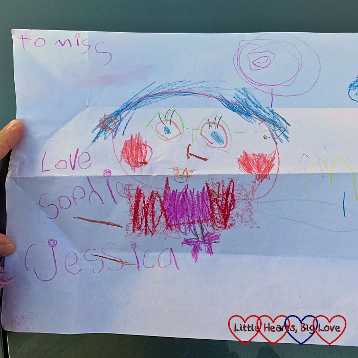 Sophie's drawing of herself with hers and Jessica's names