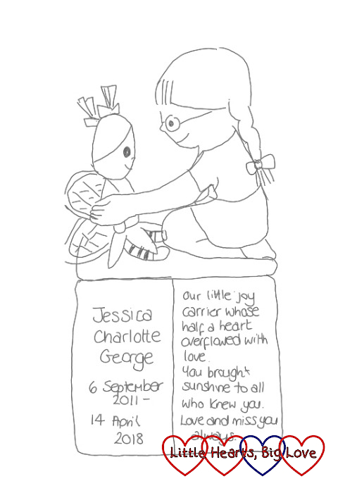 "My doodle showing our idea for Jessica's memorial - a cartoon version of Jessica and Kerry on top of an open book with the words - ""Jessica Charlotte George. 6 September 2011 - 14 April 2018. Our little joy carrier whose half a heart overflowed with love. You brought sunshine to all who knew you. Love and miss you always."""