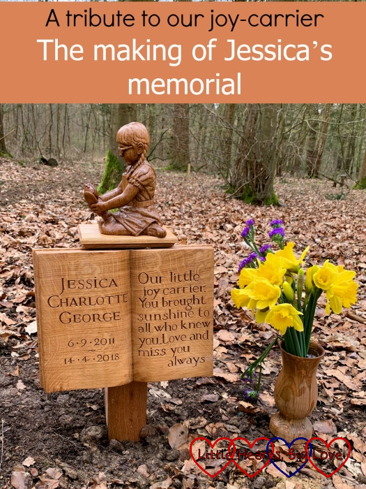 "Jessica's memorial at GreenAcres with a vase of daffodils - ""A tribute to our joy-carrier: the making of Jessica's memorial"""