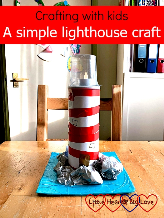 "A lighthouse made from a Pringles tube - ""Crafting with kids: A simple lighthouse craft"""