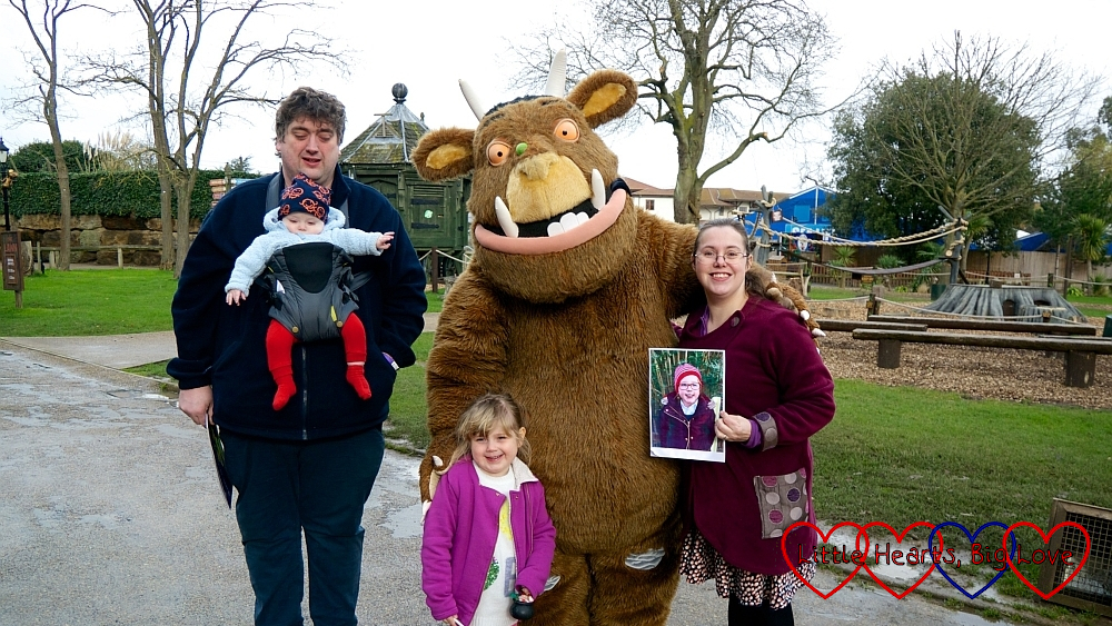 Me (holding Jessica's photo), hubby, Sophie and Thomas with the Gruffalo at Chessington World of Adventures