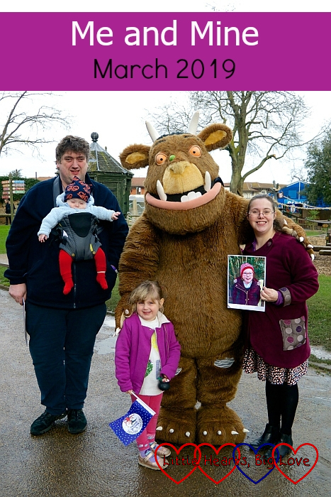 "Me (holding Jessica's photo), hubby, Sophie and Thomas with the Gruffalo at Chessington World of Adventures - ""Me and Mine: March 2019"""