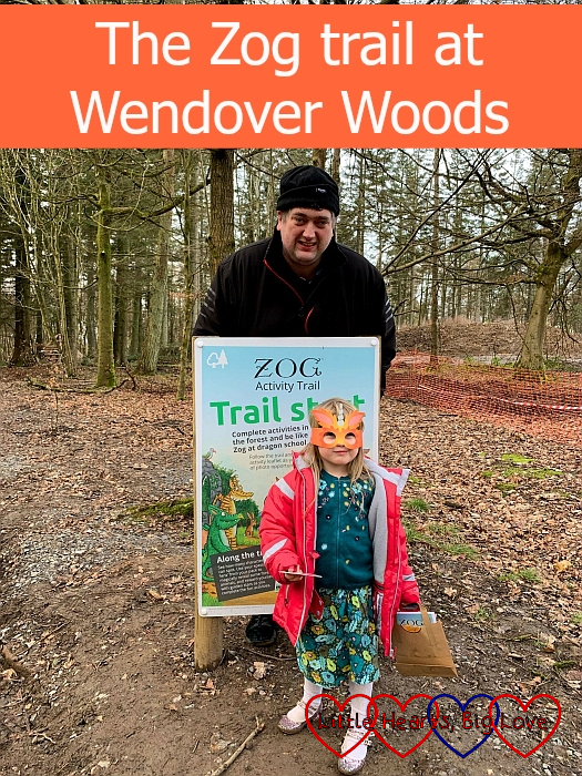 "Sophie wearing a Zog mask with Daddy at the start of the Zog trail - ""The Zog trail at Wendover Woods"""