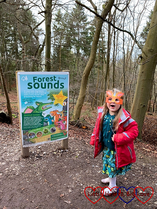 Sophie making noises next to the Forest Sounds board