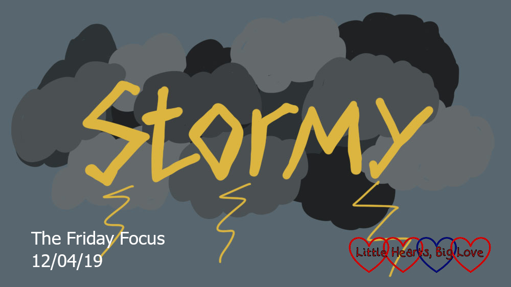 The word 'stormy' on a backdrop of dark clouds
