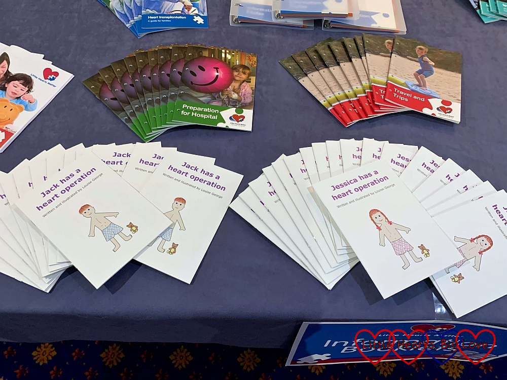 The 'Jack has a heart operation' and 'Jessica has a heart operation' books on the information stand at the Little Hearts Matter open day