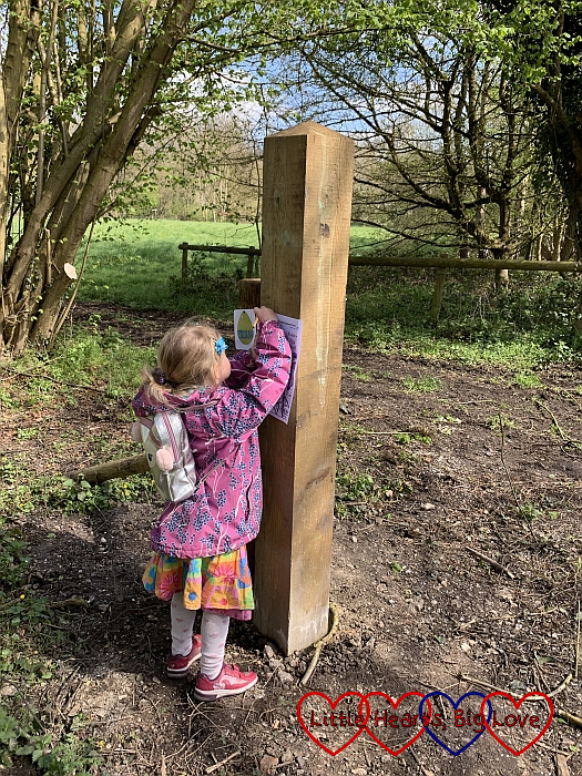 Sophie spotting Easter eggs on an Easter trail at Denham Country Park