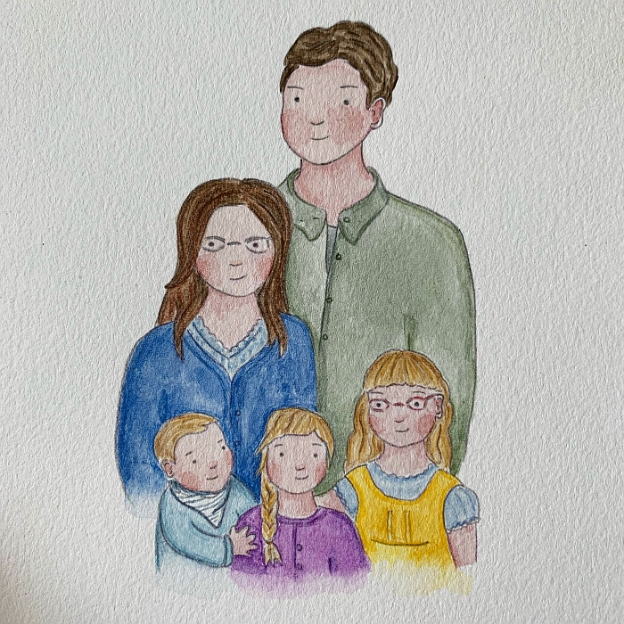 The painting of the five of us by Scarlett at the Ladybird Doll Studio