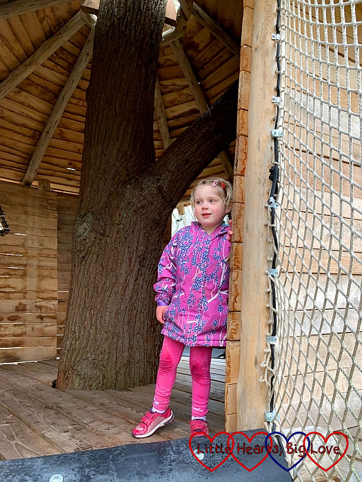 Sophie inside a treehouse at the Nets Kingdom