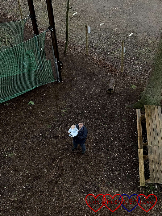Looking down from the nets at Daddy and Thomas nine metres below us