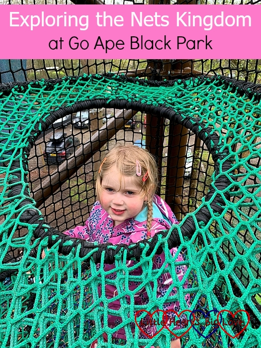 """Sophie climbing down the net climbing tower - """"Exploring the Nets Kingdom at Go Ape Black Park"""""""
