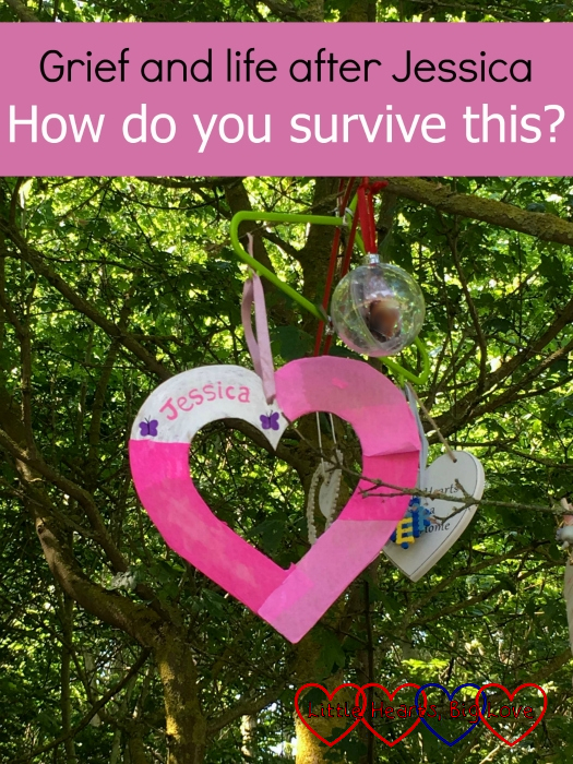 "A pink and white heart with ""Jessica"" written on it hanging in a tree - ""Grief and life after Jessica: How do you survive this?"""
