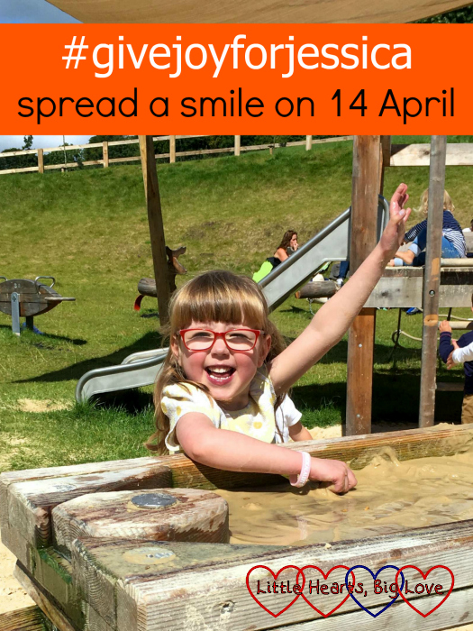 "Jessica enjoying some water play - ""#givejoyforjessica – spread a smile on 14 April"""