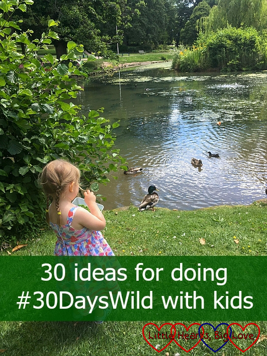 "Sophie feeding the ducks at Herschel Park - ""30 ideas for doing #30DaysWild with kids"""