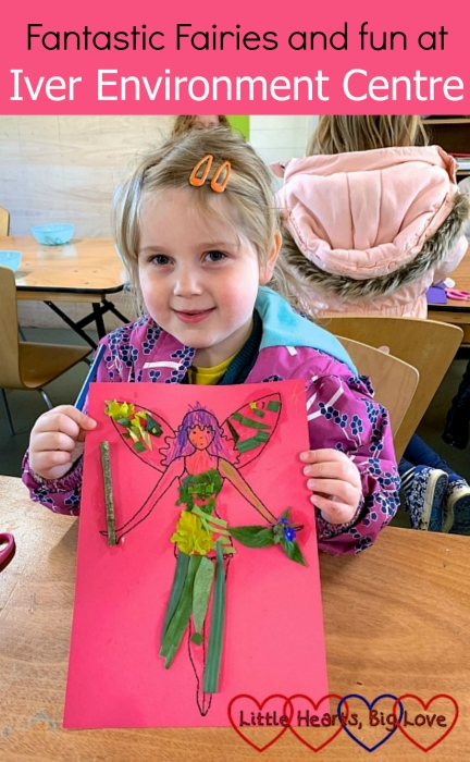"Sophie holding up her finished fairy picture - ""Fantastic Fairies and fun at Iver Environment Centre"""
