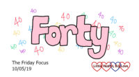 The word 'forty' surrounded by small numeral '40's