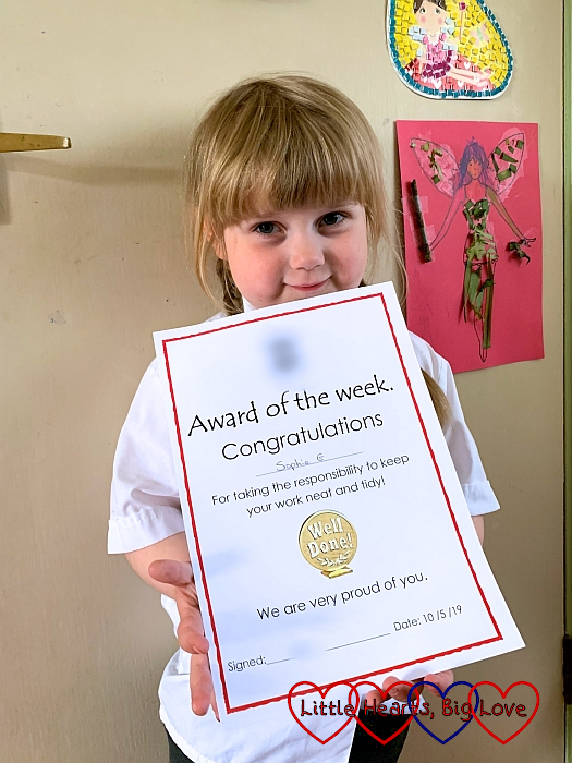 Sophie with her award of the week