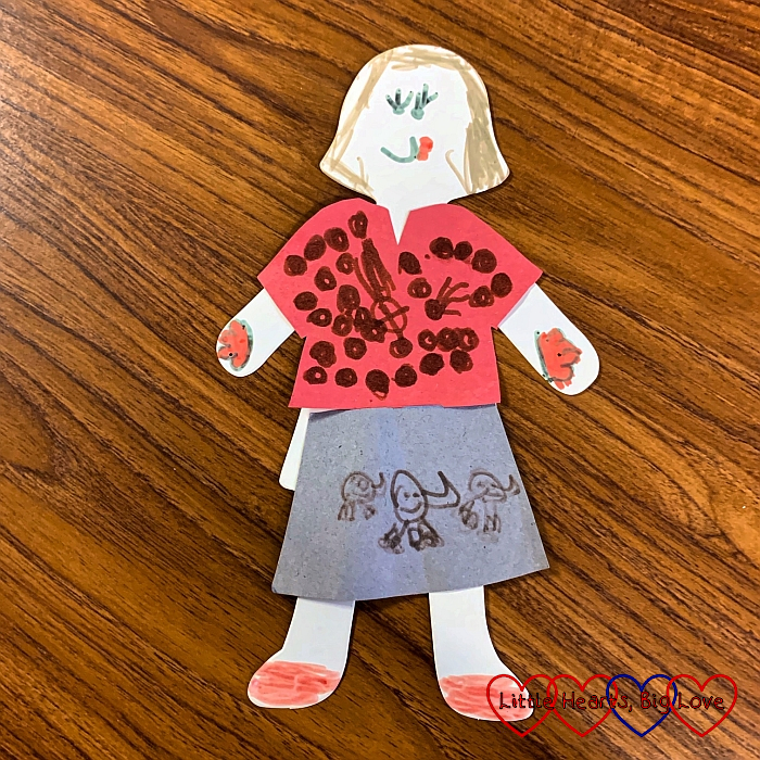 The paper doll that Jessica made at Girls' Brigade
