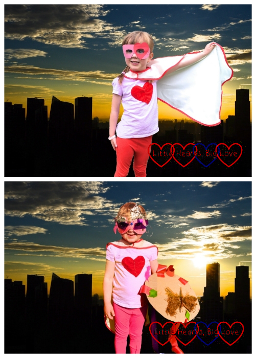 """(top) Jessica dressed as """"SuperJessica"""" with a skyline backdrop; (bottom) Sophie dressed as """"SuperSister"""" with the same skyline backdrop"""