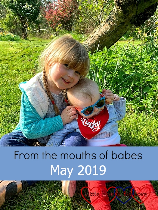 "Sophie sitting next to Thomas and helping hold his sunglasses on - ""From the mouths of babes - May 2019"""