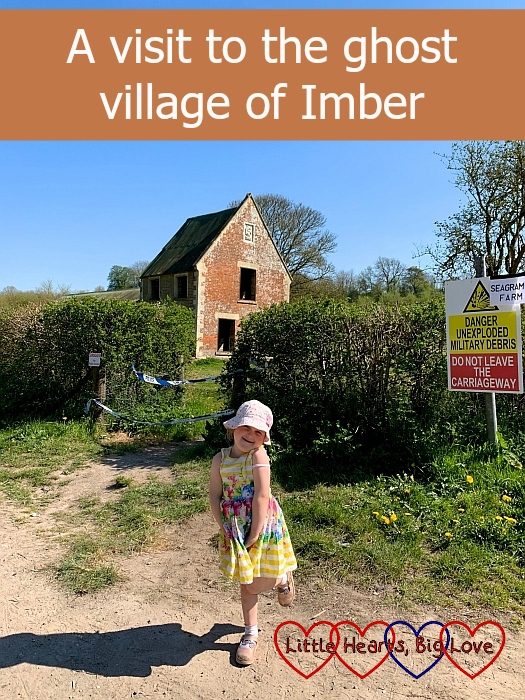 "Sophie standing outside Seagrams Farm - ""A visit to the ghost village of Imber"""